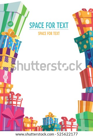 Colorful Wrapped Gift Boxes Mountain Gifts Stock Vector 525622177 ...