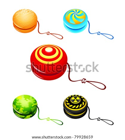 Colorful yo-yo with custom designs isolated - stock vector