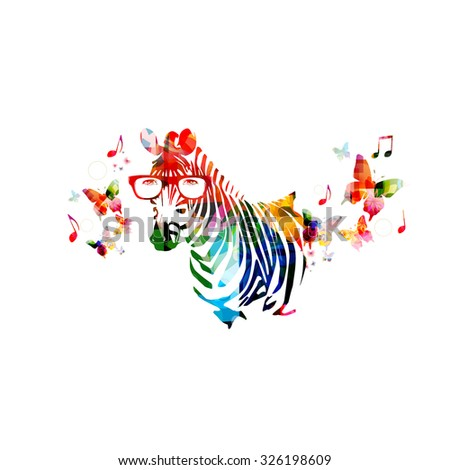 Colorful zebra design with butterflies - stock vector