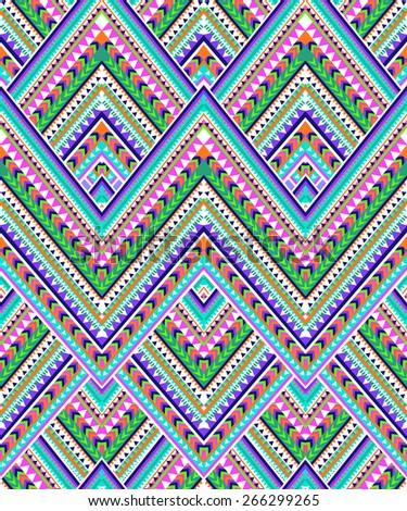 Colorful zigzag design ~ seamless background - stock vector
