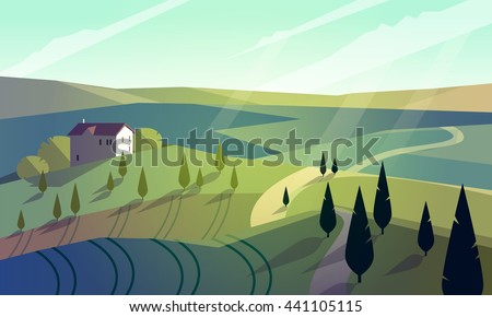 Colorfull cartoon flat landscape vector illustration