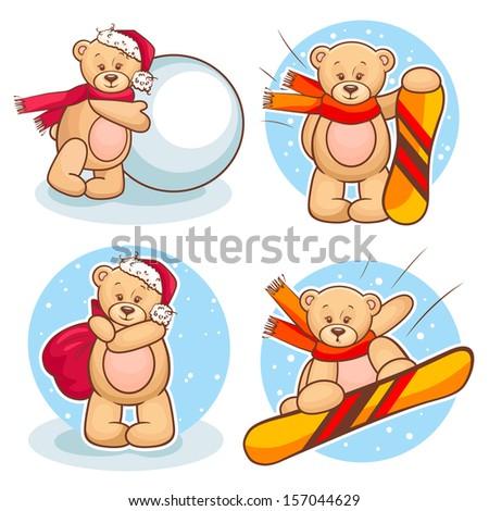 Colorfull Illustration Of Cute Teddy Bear Snowboarding. - stock vector
