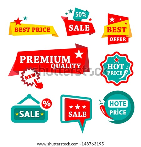 Colorfull Sale & Discount Badges - Abstract Vector Signs Set. - stock vector