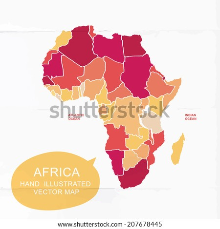 Colorfully vector hand illustrated map of Africa. Detailed political map. - stock vector