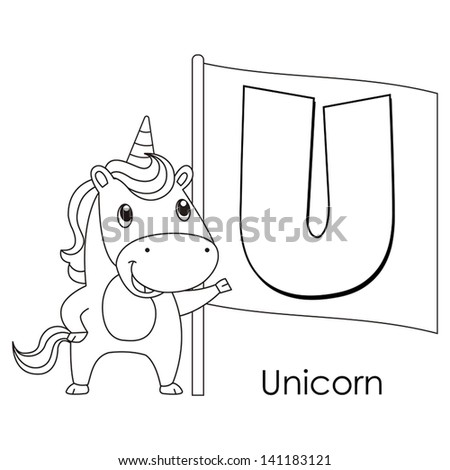 Coloring Alphabet for Kids, U with unicorn. - stock vector