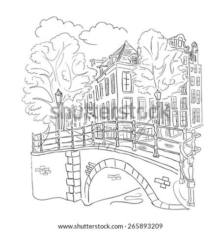 coloring book adult - view of the street Amsterdam with houses, bridge, lanterns and trees.