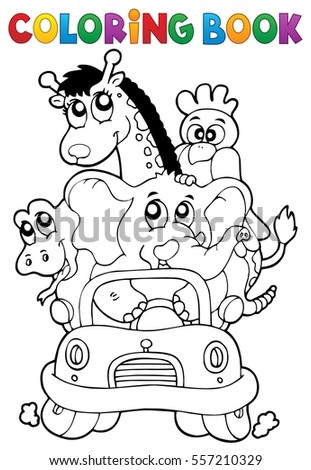Coloring book animals in car - eps10 vector illustration.