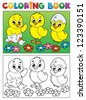 Coloring book bird image 6 - vector illustration. - stock photo