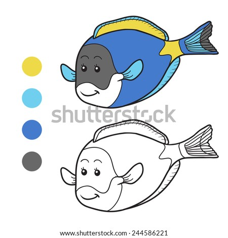 Coloring book (blue fish) - stock vector
