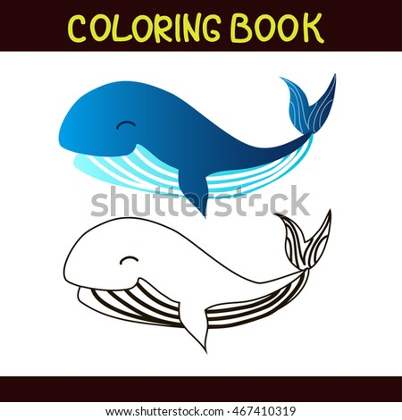 coloring book. blue whale. vector illustration. isolated on white