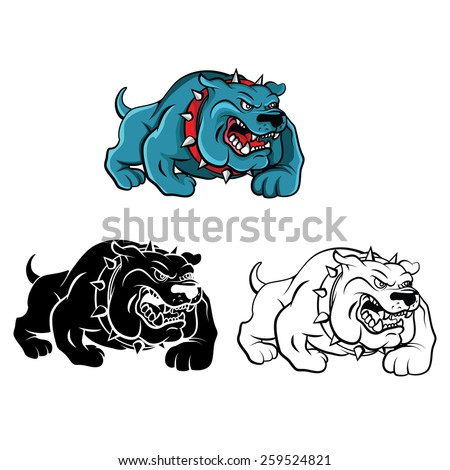Coloring book Bull Dog cartoon character - vector illustration .EPS10 - stock vector
