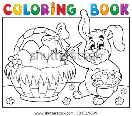 Coloring book bunny painting eggs - eps10 vector illustration. - stock vector