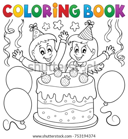 Coloring book cake and kids celebrating - eps10 vector illustration.