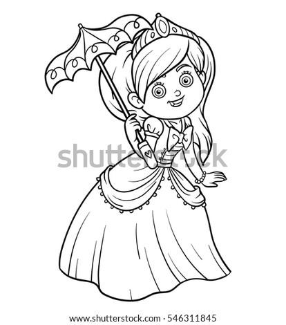 Coloring Book Cartoon Character Princess With Umbrella