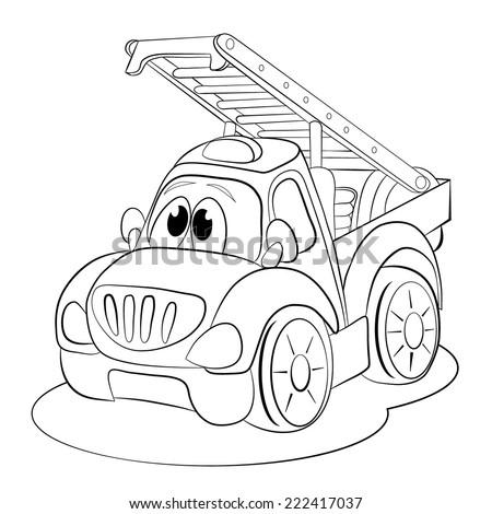 Coloring Book Cartoon Funny Car Ladder Stock Vector 222417037 ...