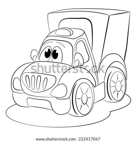 Coloring Book Cartoon Funny Car Van