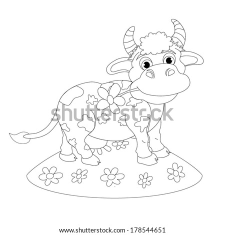 Coloring book. Cartoon of merry little cow. Personage.