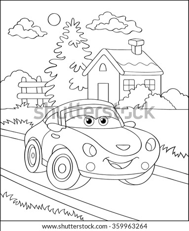 Coloring Book Cartoon Vector Illustration Of Black And White Car For The Children