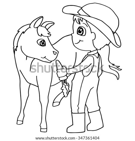 Coloring Book Child Feeding Horses Vector Stock Vector 347361404 ...