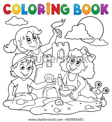 Coloring book children and sand castle - eps10 vector illustration.