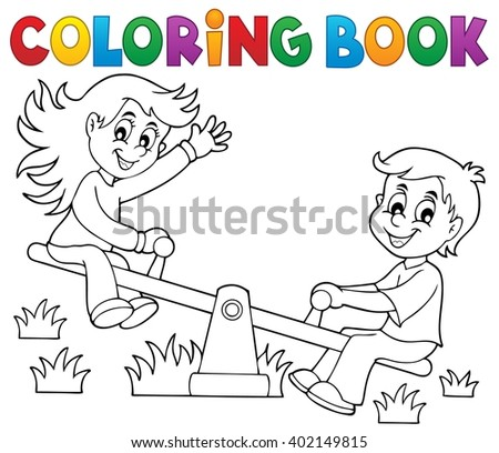 Coloring book children on seesaw theme 1 - eps10 vector illustration. - stock vector