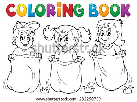 Coloring book children playing theme 1 - eps10 vector illustration. - stock vector