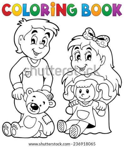 Coloring book children with toys 1 - eps10 vector illustration. - stock vector