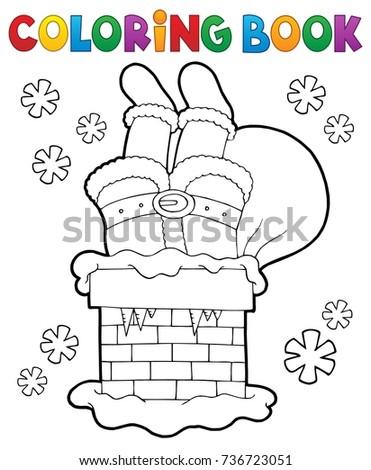Coloring book chimney with Santa Claus - eps10 vector illustration.