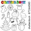 Coloring book Christmas images 1 - vector illustration. - stock vector