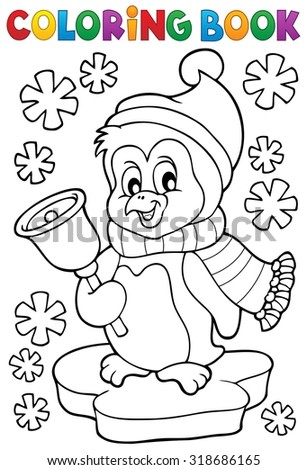 Coloring book Christmas penguin topic 1 - eps10 vector illustration. - stock vector