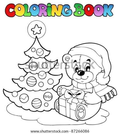 Coloring Book Christmas Teddy Bear