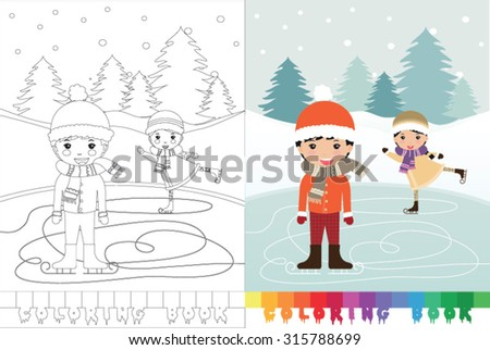 Coloring book Christmas topic - vector illustration. - stock vector
