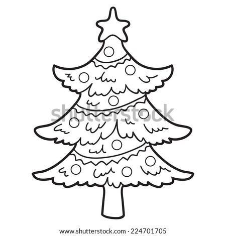 Coloring book (christmas tree) - stock vector