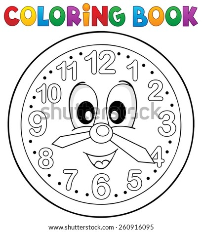 Coloring book clock theme 2 - eps10 vector illustration. - stock vector