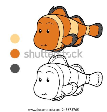 Coloring book (clown fish) - stock vector