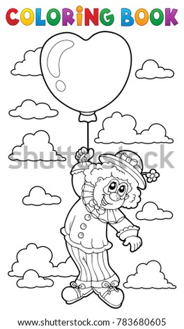 Coloring book clown with balloon - eps10 vector illustration.