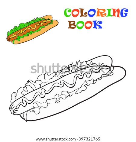 Coloring book. Colouring Hot Dog for kids. Vector  illustration - stock vector
