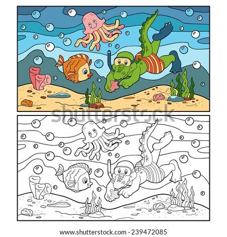 Coloring book (crocodile diver, ocean floor) - stock vector
