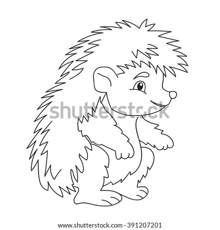 Coloring book cute hedgehog  vector isolated animal - stock vector