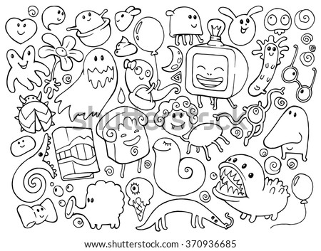 Coloring book doodle illustrations set with many fantasy funny characters, monsters, strange creatures