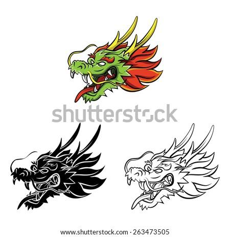 Coloring book Dragon cartoon character - stock vector