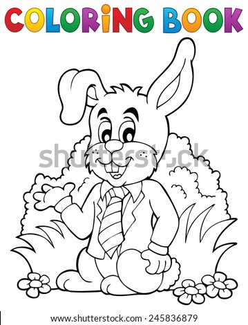 Coloring book Easter rabbit theme 1 - eps10 vector illustration. - stock vector