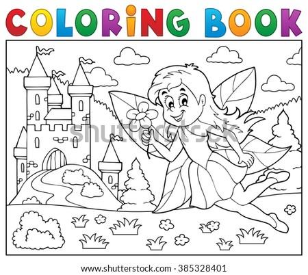 Coloring book fairy near castle - eps10 vector illustration. - stock vector