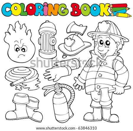 Coloring book firefighter collection - vector illustration. - stock vector