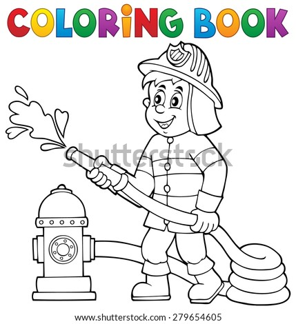 Coloring book firefighter theme 1 - eps10 vector illustration. - stock vector