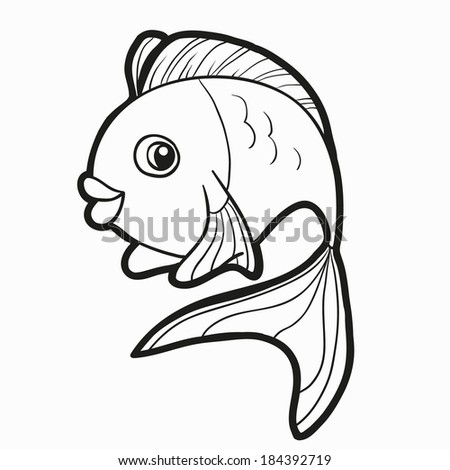 Coloring Book (fish) - stock vector