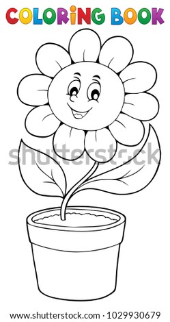 Coloring book flower topic 5 - eps10 vector illustration.