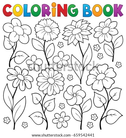 Coloring book flower topic 3 - eps10 vector illustration.