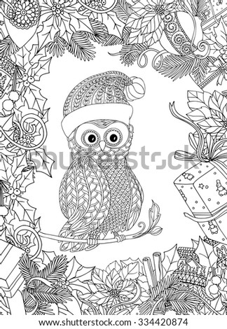 Coloring Book For Adult And Older Children Page With Cute Owl In Santa Claus
