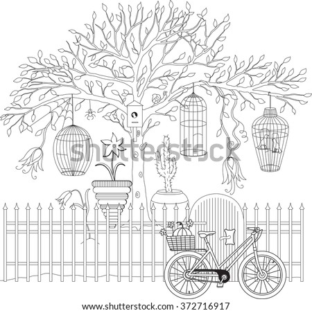 Coloring Book For Adult And Older Children Page With Decorative Vintage Flowers Tree